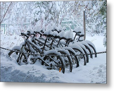 Bicycles In The Snow Metal Print by Heidi Smith
