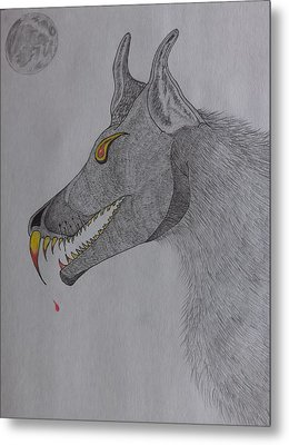 Metal Print featuring the drawing Big Bad Wolf by Gerald Strine