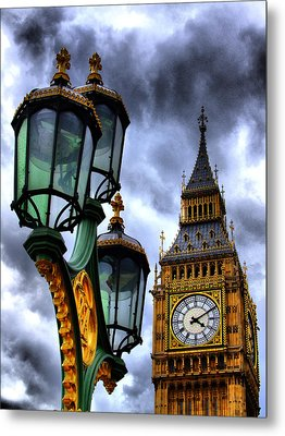 Big Ben And Lamp - Hdr Metal Print by Colin J Williams Photography
