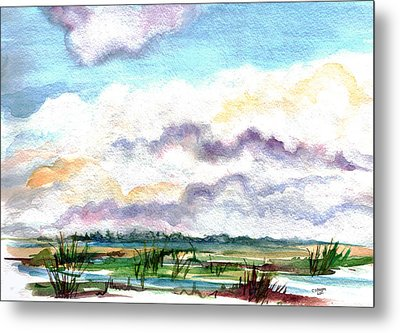Metal Print featuring the painting Big Clouds by Clara Sue Beym