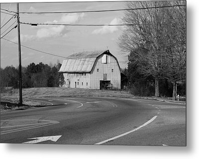 Metal Print featuring the photograph Big Metal Barn In The Curve by Bob Whitt
