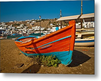 Big Red Boat On The Sand Metal Print by Preston Coe