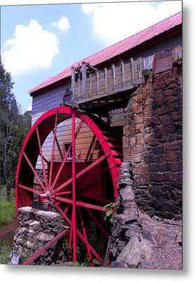 Big Red Wheel Metal Print by Sandi OReilly