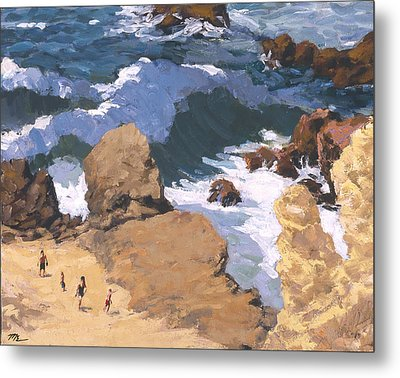 Big Surf At Little Corona Metal Print by Mark Lunde