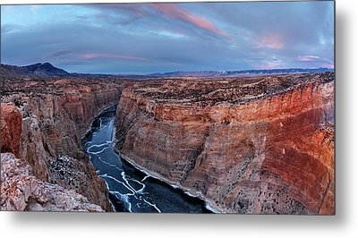 Bighorn River Winter Sunset Metal Print by Leland D Howard
