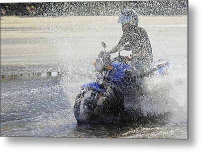 Biker  Making A Splash Metal Print by Kantilal Patel