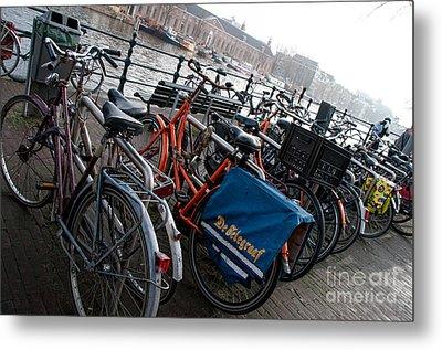 Metal Print featuring the digital art Bikes In Amsterdam by Carol Ailles