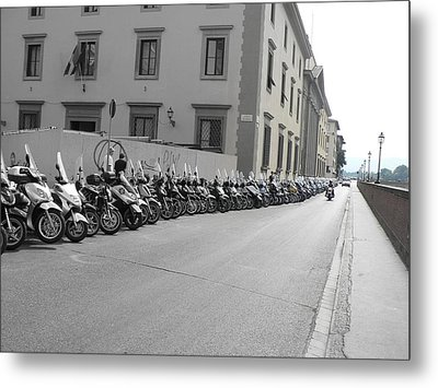Metal Print featuring the photograph Bikes by Laurel Best