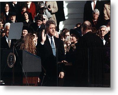 Bill Clinton Center, Taking The Oath Metal Print by Everett