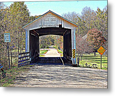 Billie Creek Village Covered Bridge Metal Print by Robin Pross