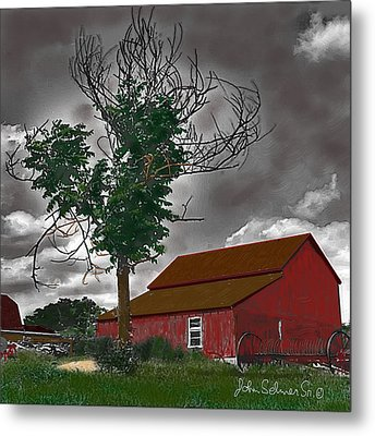 Metal Print featuring the digital art Bills Barn   Red by John Selmer Sr