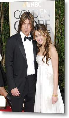 Billy Ray Cyrus, Miley Cyrus Wearing Metal Print by Everett