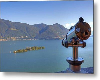 Binoculars Focused On The Isole Di Brissago Metal Print by Joana Kruse