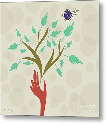 Bird And Branch Metal Print by HD Connelly