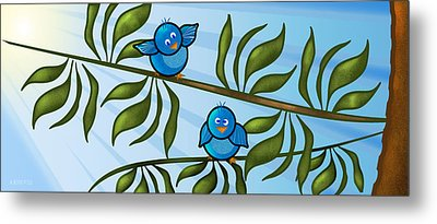 Bird Branch Metal Print by Melisa Meyers