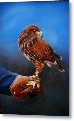 Metal Print featuring the painting Bird In The Hand by Lynn Hughes
