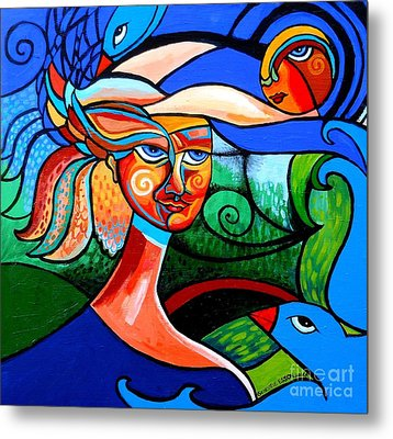 Bird Lady Metal Print by Genevieve Esson