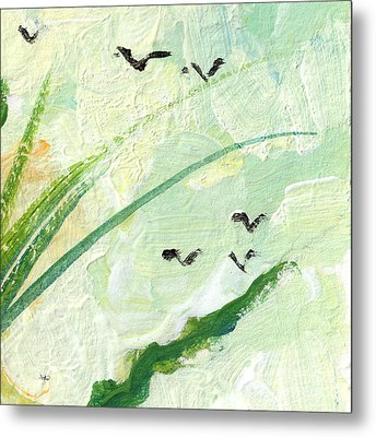 Birds Modern Abstract Painting Metal Print by Ginette Callaway