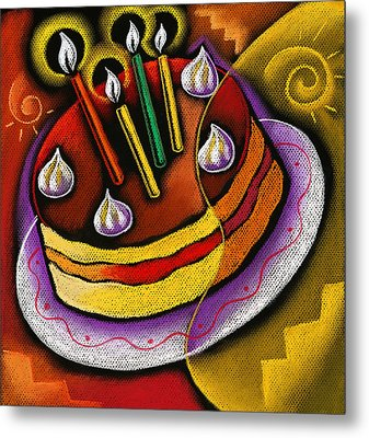 Birthday  Cake  Metal Print by Leon Zernitsky