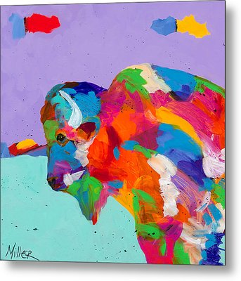 Bison Ablaze Metal Print by Tracy Miller