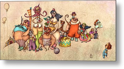 Bizarre Circus People Metal Print by Autogiro Illustration