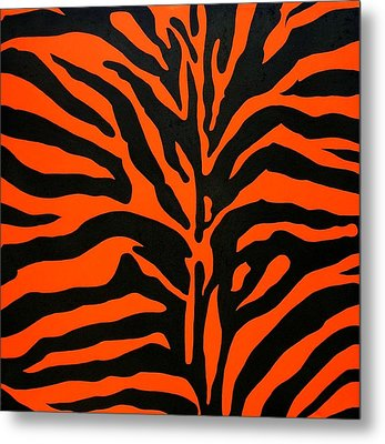 Black And Orange Zebra Metal Print
