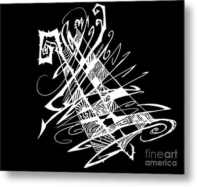 Black And White And Abstract All Over Metal Print by Stef Schultz Sorry Little Sharky