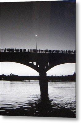 Black And White Austin Texas Bat Bridge Metal Print