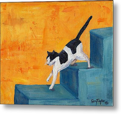 Metal Print featuring the painting Black And White Cat Descending Blue Stairs by Terry Taylor