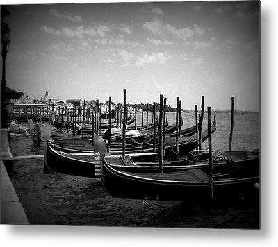 Metal Print featuring the photograph Black And White Gondolas by Laurel Best