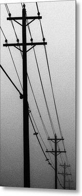 Black And White Poles In Fog Right View Metal Print by Tony Grider