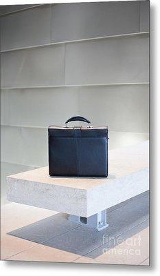 Black Briefcase On White Stone Bench Metal Print