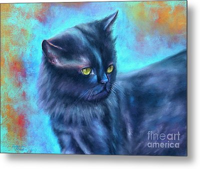 Black Cat Color Fantasy Metal Print by Gabriela Valencia