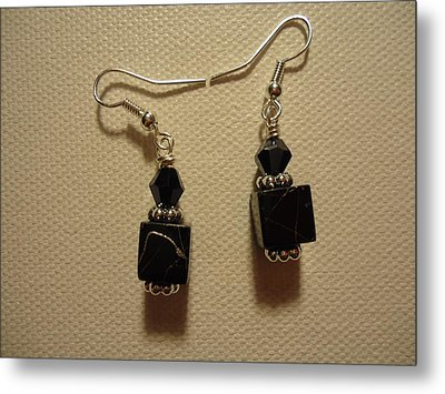 Black Cube Drop Earrings Metal Print by Jenna Green