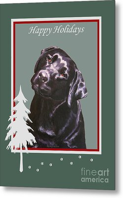 Black Labrador Portrait Christmas Metal Print