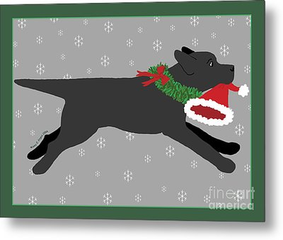 Black Labrador Steals Santa's Hat Metal Print