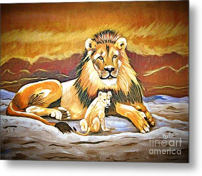 Black Maned Lion And Cub Metal Print by Phyllis Kaltenbach