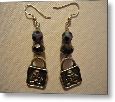 Black Pirate Earrings Metal Print by Jenna Green