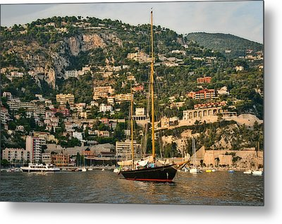 Metal Print featuring the photograph Black Sailboat by Steven Sparks