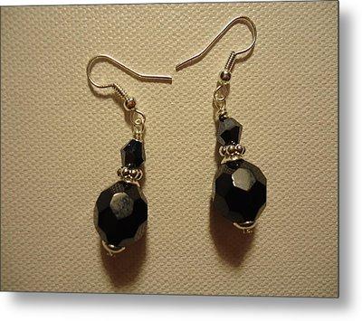 Black Sparkle Drop Earrings Metal Print