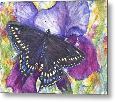 Black Swallowtail Butterfly Metal Print by Patricia Allingham Carlson