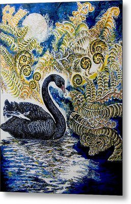 Black Swan And Tree Ferns No1 Metal Print by Helen Duley