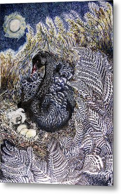 Black Swan Mother And Child Metal Print by Helen Duley