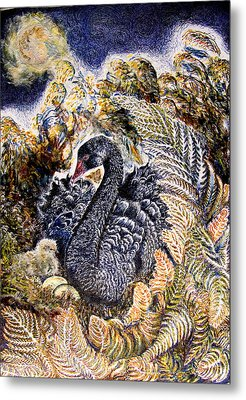 Black Swan  Mother And Cygnet No 2  Metal Print by Helen Duley