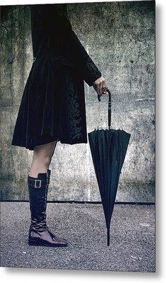 Black Umbrellla Metal Print by Joana Kruse