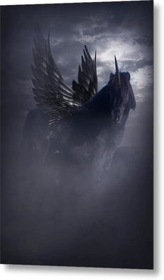 Black Unicorn Pegasus Fantasy Artwork Metal Print