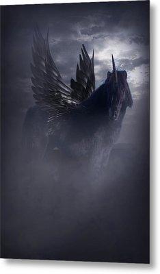 Metal Print featuring the photograph Black Unicorn Pegasus Fantasy Artwork by Ethiriel  Photography