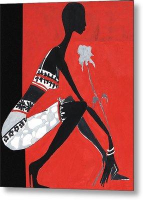 Black Woman Metal Print by Maya Manolova