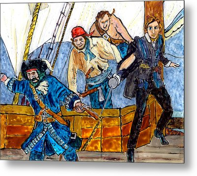 Blackbeard And Flynn Metal Print by Phil Strang