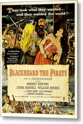 Blackbeard The Pirate, Poster Art Metal Print by Everett